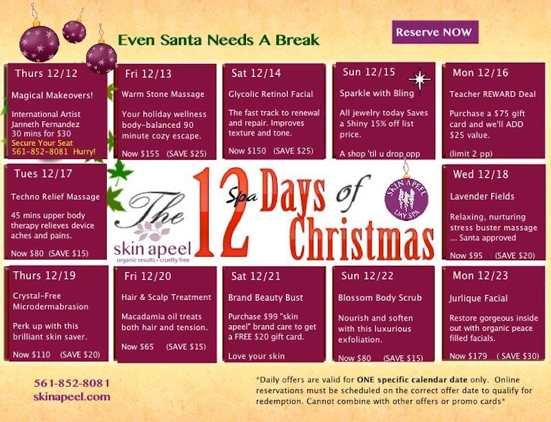 December Spa Specials-Skin Apeel Day Spa- Boca Raton