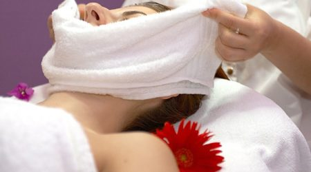 face care session at the spa center