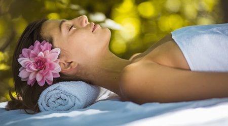 Uses the day just to enjoy. Beauty women at nature. Massage time. Close up.